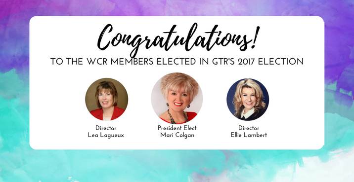 Congrats to the WCR members elected in GTR's 2017 elections!