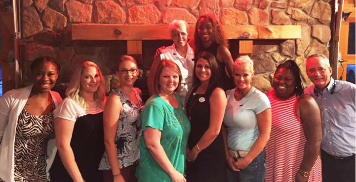 "Metro South ""New Member Orientation at Logan's Garage"".  Great moments of sharing and learning!! Back Row: President Tammy Noll and Khaleedah Dickerson. Front Row R: Dean Bendall, Treasurer. #WomensCouncil"