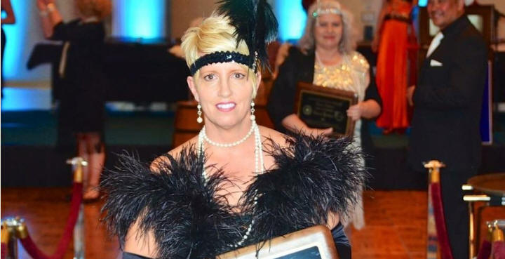 "March 12, 2016 - Madam President Tammy Noll at MSAR's ""Circle of Excellence Gala"".  Congratulations!  Deb Nardy, REALTOR® Member of the Metro South Chapter, in background.  The theme was ""Roaring Twenties""."