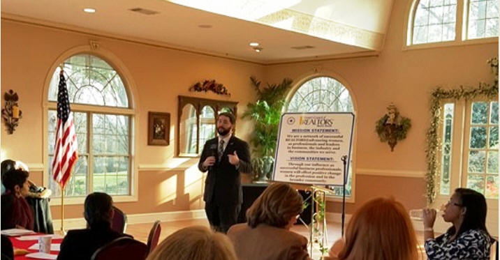 "Brad Mock, Georgia Association of REALTORS®, Keynote Speaker shared information, before a FULL HOUSE, regarding GAR's upcoming ""Legislation Day"", which will be held on Tuesday, February 9, 2016, Bills & RPAC."