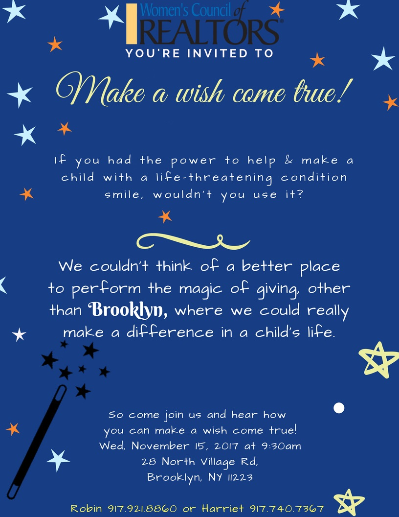 Make A Wish November 15, 2017 9:30 am- BBOR Building