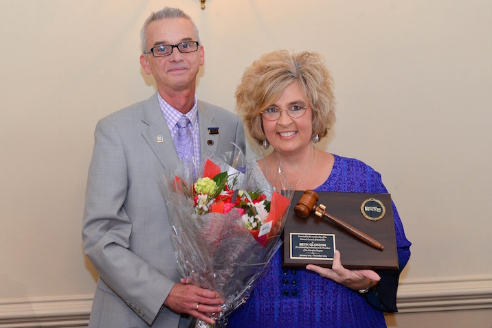 Presentation of Plaque and Flowers to 2015 President Beth Glosson