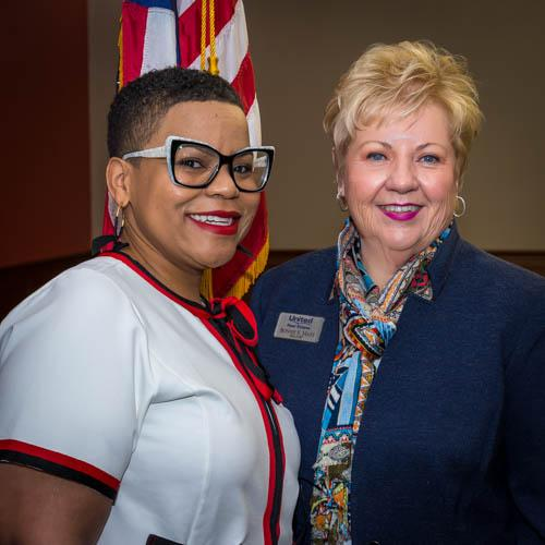 Presentor, Marki Lemons-Ryhal with WCR Greater Louisville President, Bonnie Mays
